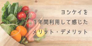 【食材宅配サービス:ヨシケイ】ヨシケイを1年間利用して感じたメリット・デメリット